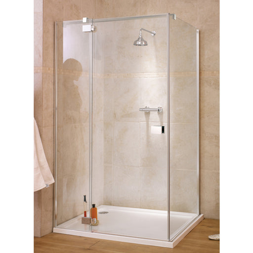 Lakes Italia Verona Hinged Shower Door with Inline Panel - 1400mm - Chrome - Clear Glass - Left Handed
