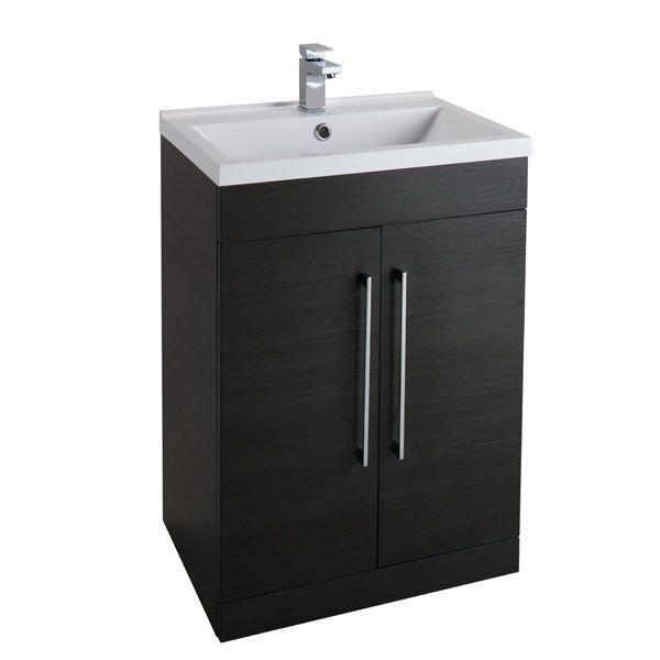 Cassellie Idon 2-Doors Vanity Unit with Mid-Edge Basin - 600mm Wide - Black
