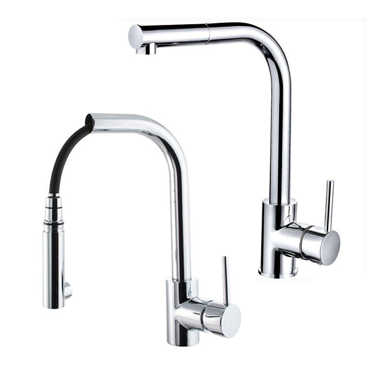 Cassellie Single Lever Mono Kitchen Sink Mixer with Pull Out Spray - Chrome