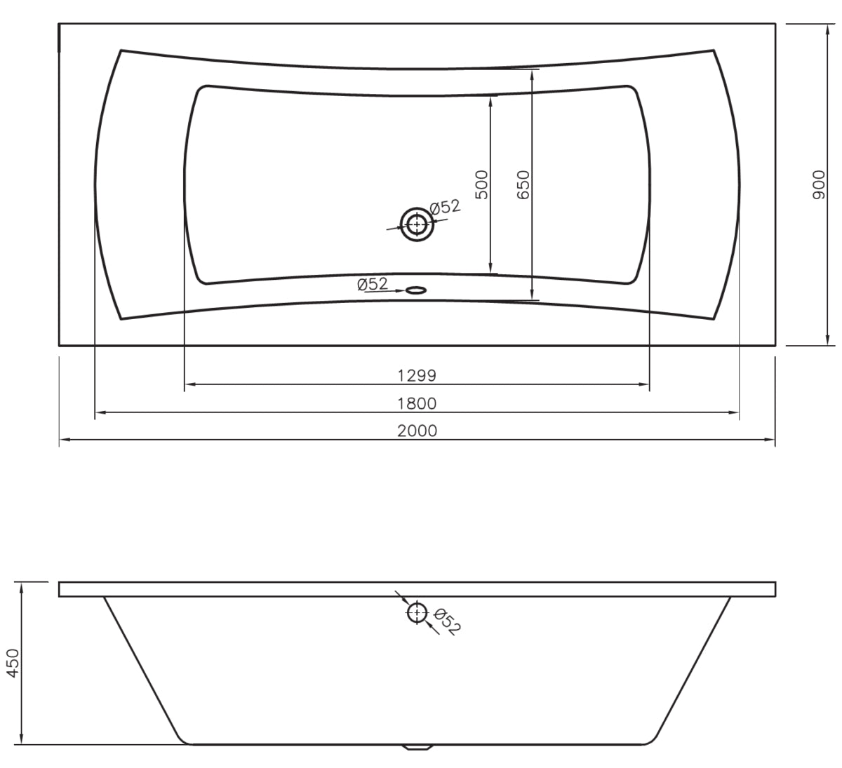 Phoenix Omega - Amanzonite 2000 x 900mm Double End Whirlpool And Airpool Bath - BH086S3