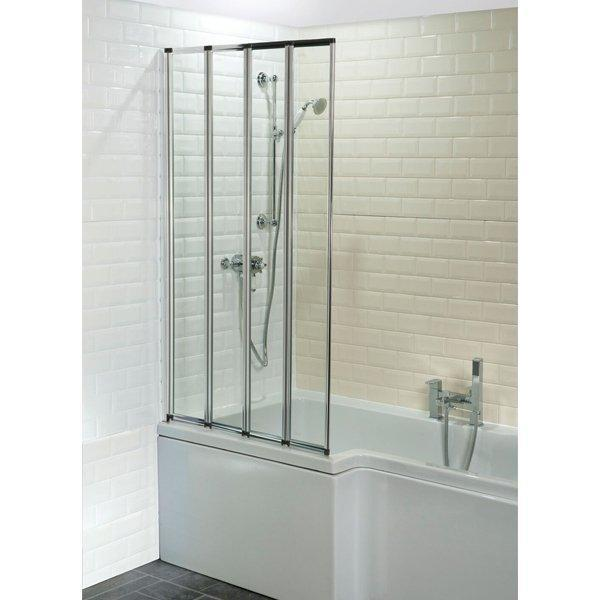 Cassellie 4-Fold Bath Screen - 1400mm High x 800mm Wide - 4mm Glass