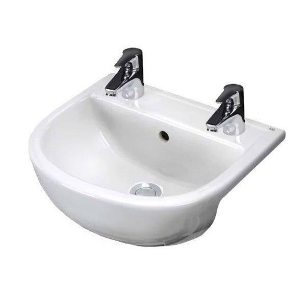 RAK Compact Semi-Recessed Basin 550mm Wide 2 Tap Hole