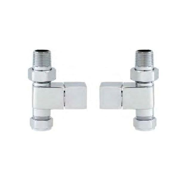 Cassellie Straight Square Head Radiator Valves - Pair - Chrome