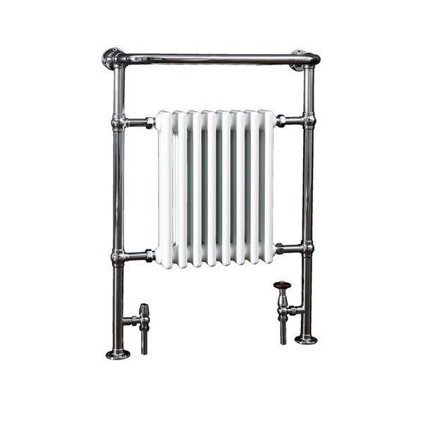Cassellie Traditional Heated Radiator Towel Rail - 965mm High x 673mm Wide - Chrome/White