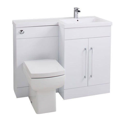 Cassellie Maze L-Shaped Combination Unit with Thin Edge Basin - 1090mm Wide - Gloss White - Left Handed