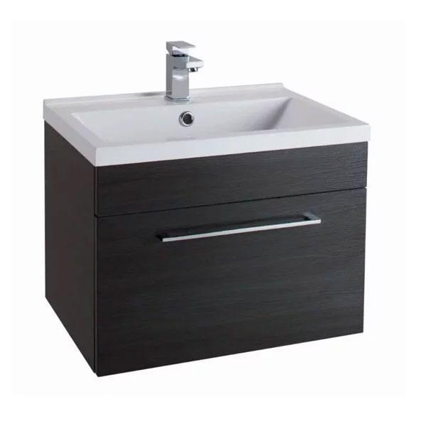 Cassellie Idon 1-Drawer Wall Hung Vanity Unit with White Basin - 600mm Wide - Black Ash