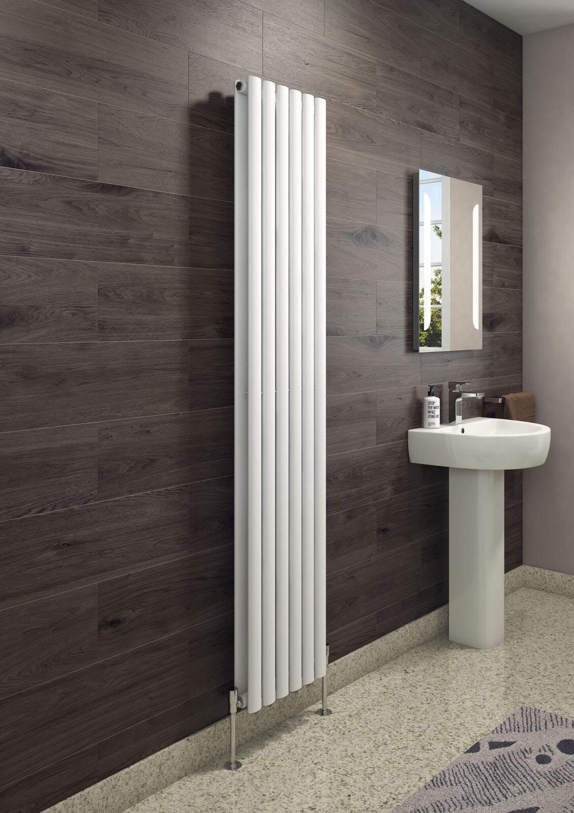 Cassellie Celsius Double Panel Designer Vertical Radiator - 1800mm High x 354mm Wide - White