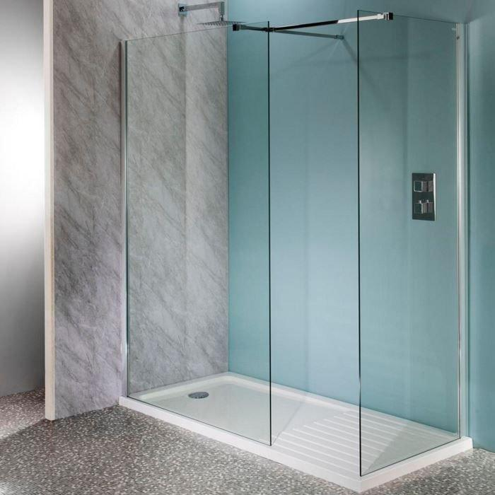 Cassellie Lana Easy Clean Wet Room Glass Panel 1200mm Wide - 10mm Glass