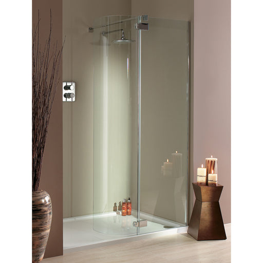 Lakes Italia Torino Hinged Shower Door - 1200mm x 900mm - Silver - Clear Glass - Left Handed