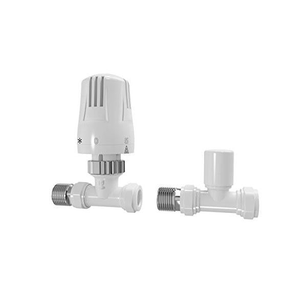 Cassellie Straight Thermostatic Economy Radiator Valve - Chrome (Plastic Head)