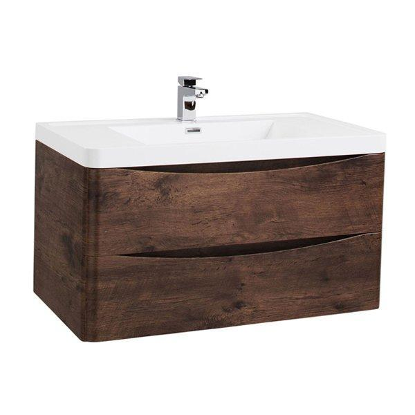 Cassellie Bali 2-Drawers Wall Hung Vanity Unit with Basin - 900mm Wide - Chestnut