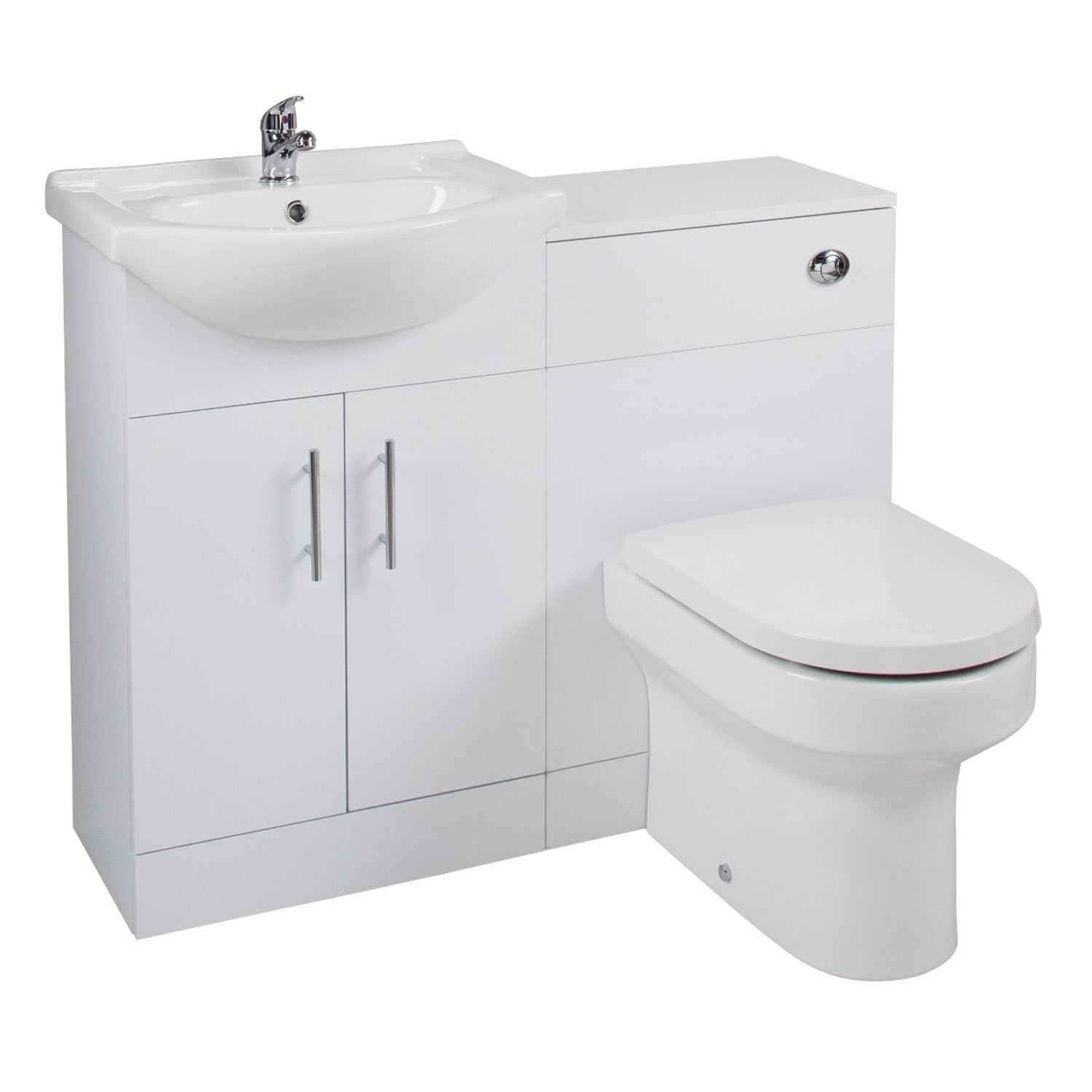 Cassellie Kass Combination Unit with Montego Back to Wall Pan & Seat - 1050mm Wide - White