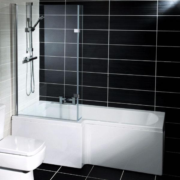Cassellie Halle L-Shaped Shower Bath - 1500mm x 700mm-850mm - Left Handed