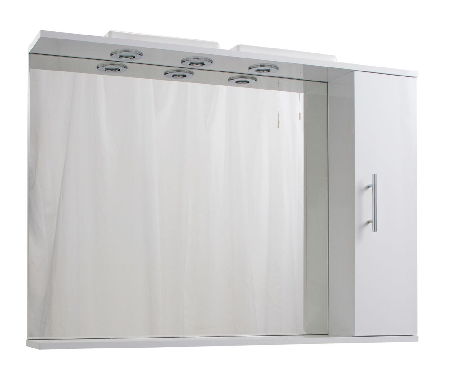 Cassellie Kass 1-Door LED Mirrored Cabinet - 1050mm - White