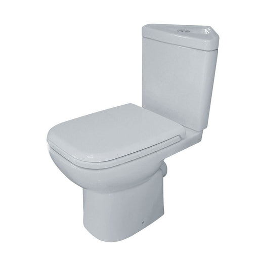 Essential VIOLET Corner Close Coupled Pan + Cistern + Seat Pack, Soft Close Seat, White