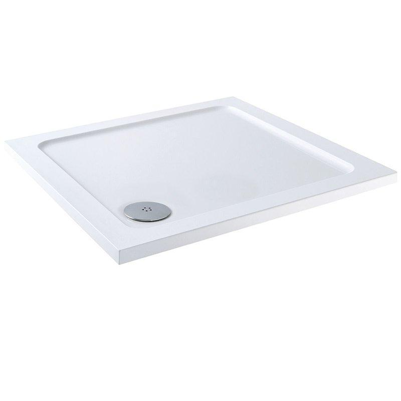 Cassellie C-Series Square Shower Tray with Waste - 700mm x 700mm - Stone Resin