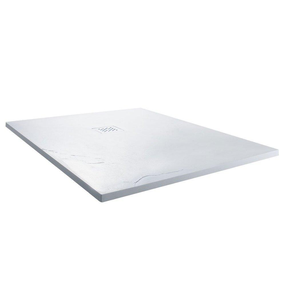 Cassellie Square Slate Shower Tray with Waste 900mm x 900mm - White
