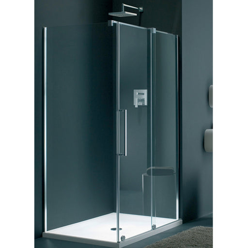 Lakes Italia Novara Sliding Shower Door - 1400mm - Silver - Clear Glass - Right Handed