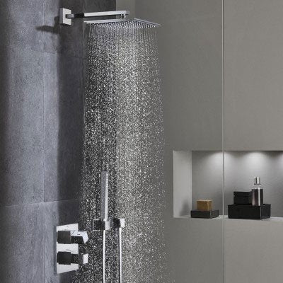 Grohe Rainshower Fixed Shower Head, Square, Chrome