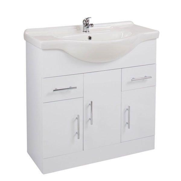 Cassellie Kass 3-Doors & 2-Drawers Vanity Unit with Basin - 850mm Wide - White
