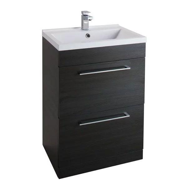 Cassellie Idon 2-Drawers Floor Standing Vanity Unit with White Basin - 600mm Wide - Black Ash