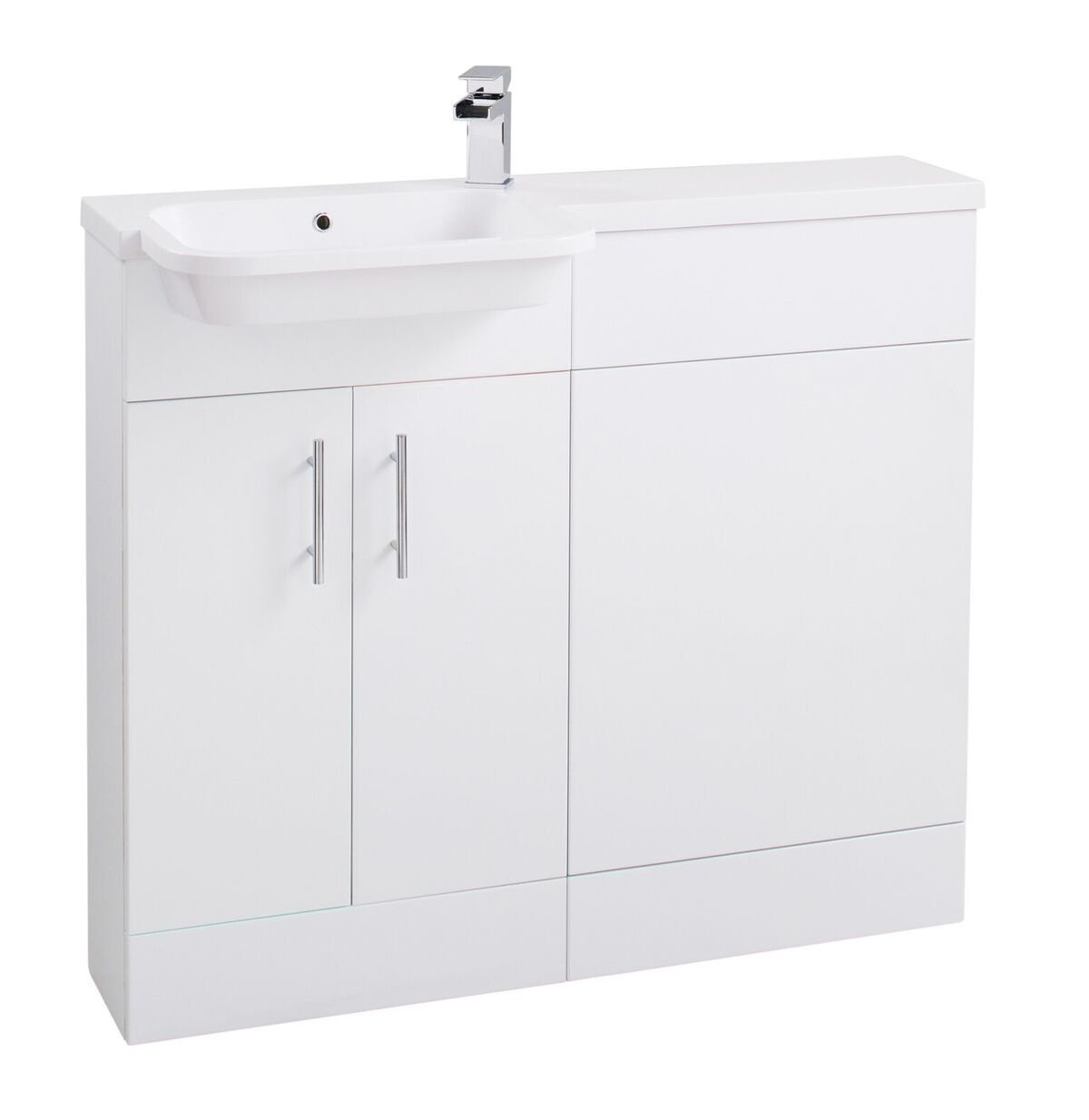 Cassellie Ria Combi Combination Unit with Basin - 1000mm Wide - Gloss White - Left Handed