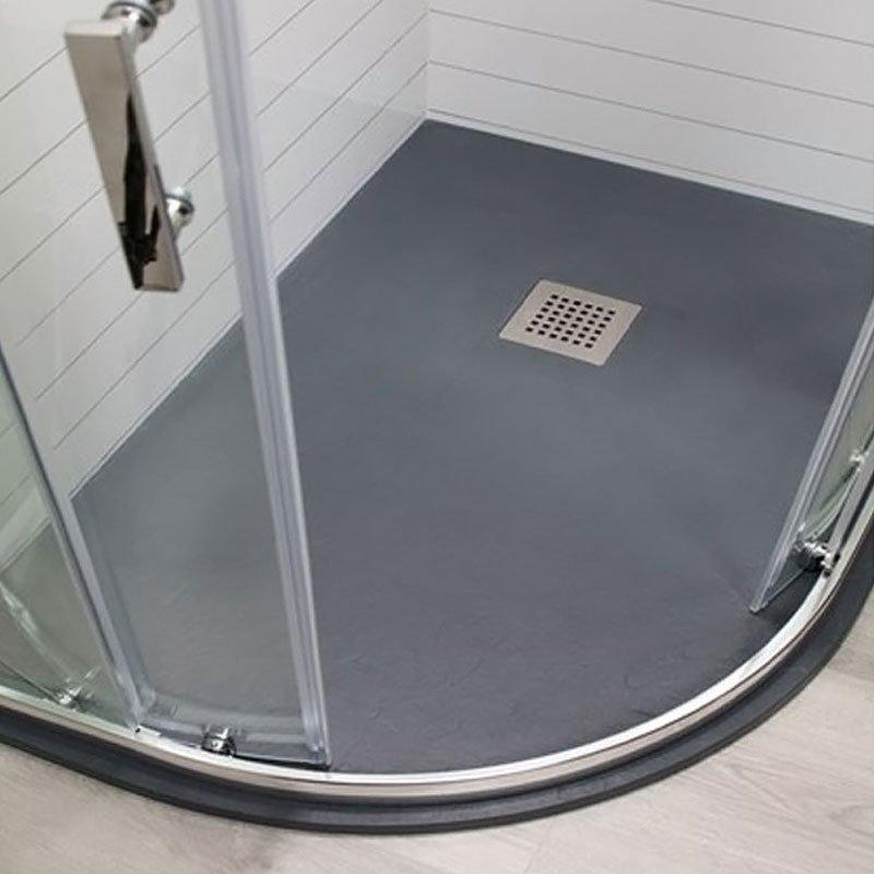 Cassellie Cass Stone Offset Quadrant Slate Shower Tray with Waste 1200mm x 800mm Left Handed Anthracite