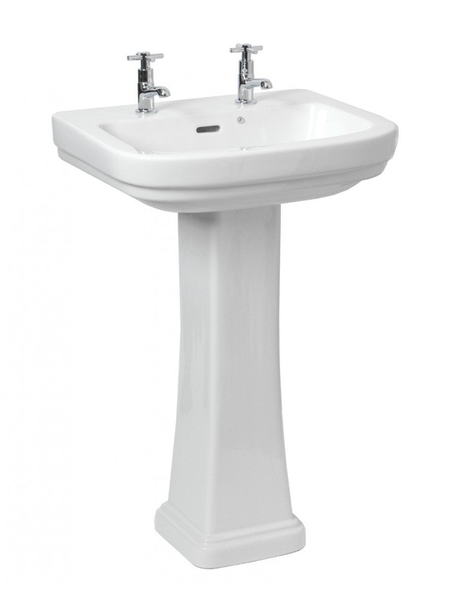 RAK Decor Traditional Style Basin and Full Pedestal 2 Tap Hole