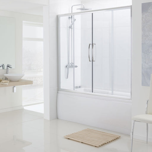 Lakes Oval Semi Frameless Bath Double Slider Door - 1700mm - Silver - Clear Glass
