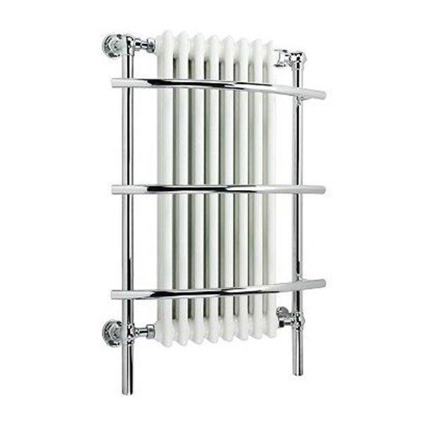 Cassellie Traditional Wall Hung Heated Radiator Towel Rail - 1000mm High x 630mm Wide - Chrome/White