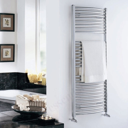 Essential STANDARD Towel Warmer, Curved Tubes, 1110mm High x 600mm Wide, Chrome