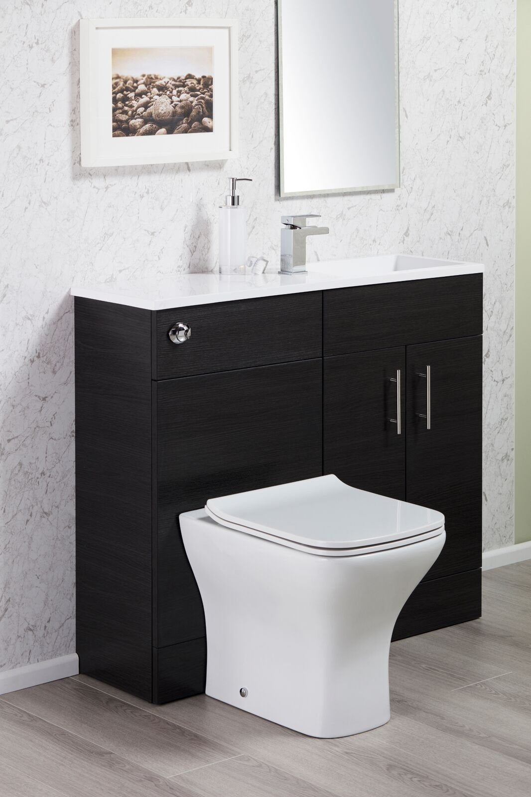 Cassellie Slimline Combination Unit with Basin - 995mm Wide - Black Ash