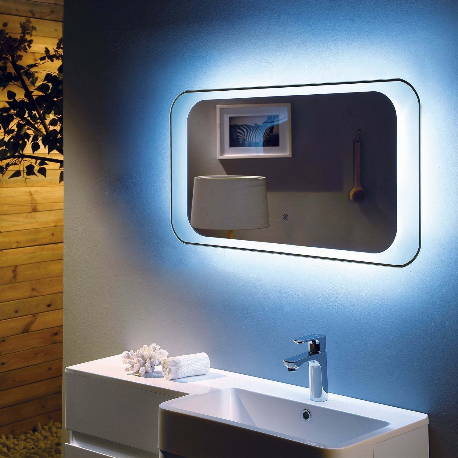 RAK Harmony LED Mirror with Switch and Demister Pad 500mm H x 900mm W