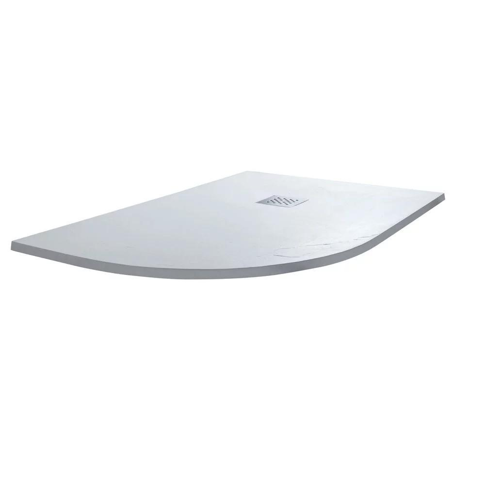 Cassellie Offset Quadrant Slate Shower Tray with Waste Left Handed - 1200mm x 800mm - White