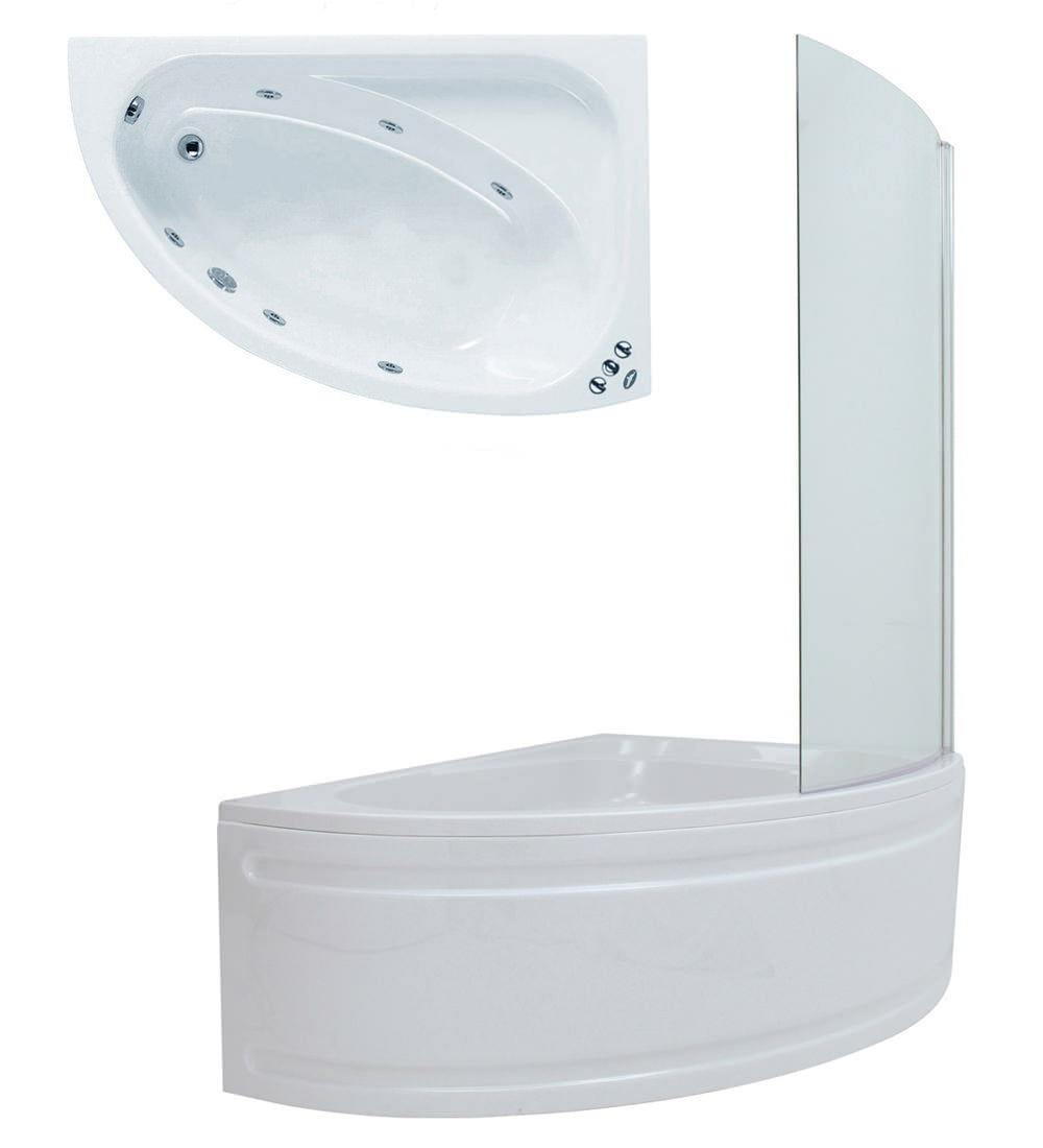 Phoenix Duo - Whirlpool Bath with Dedicated Bath Screen & Panel 1500mm x 1000mm with 6 Jets - BH030S1