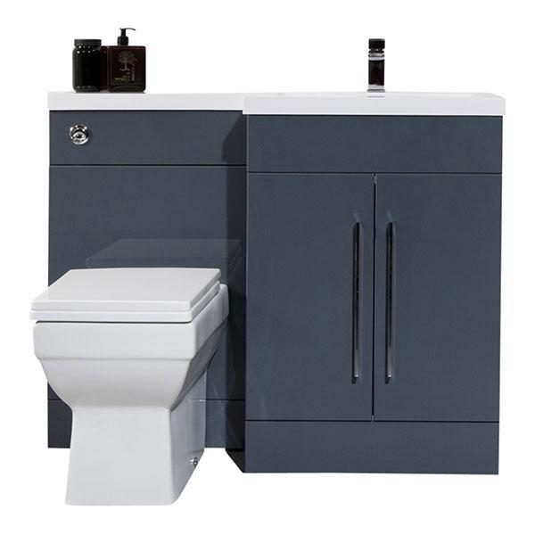 Cassellie Maze L-Shaped Combination Unit with Mid-Edge Basin - 1090mm Wide - Anthracite - Right Handed