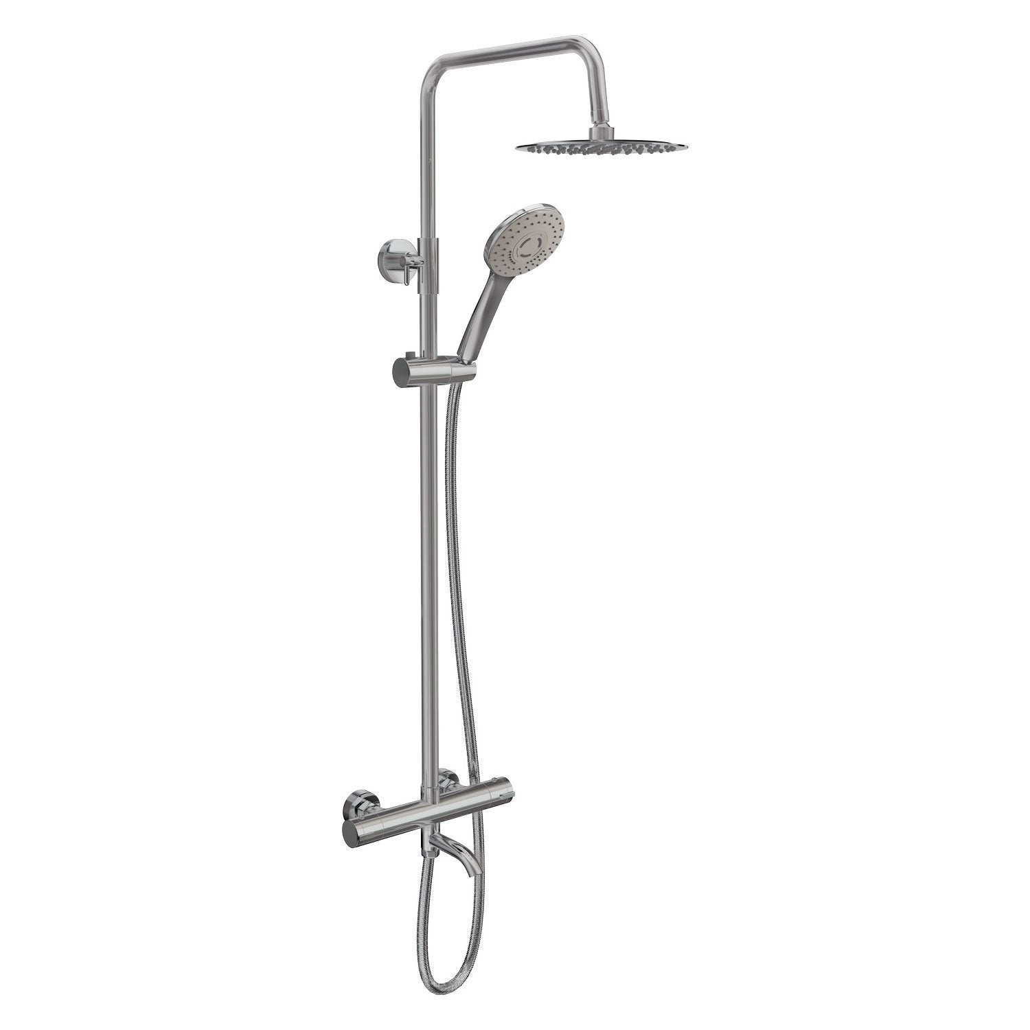 Cassellie Santana Thermostatic Bar Shower Valve with Shower Kit and Bath Filler + Fixed Head