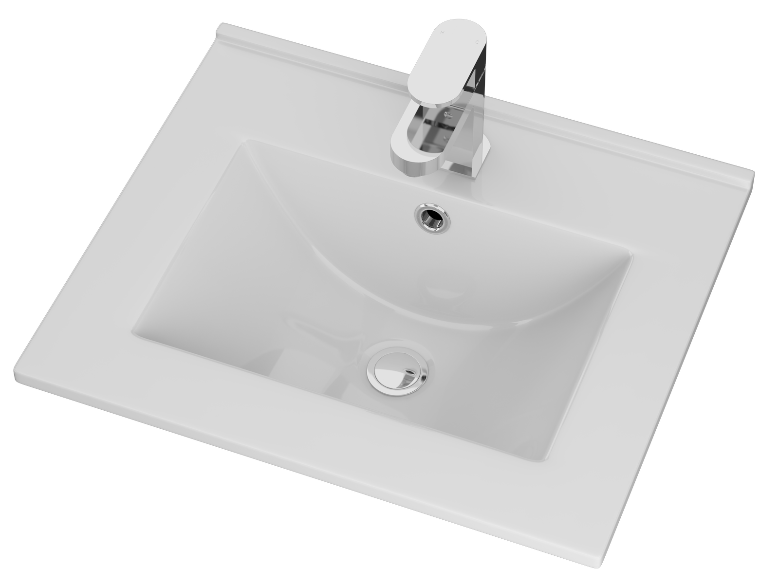Cassellie Idon Ceramic Thin Edge Vanity Unit Basin - 515mm Wide - 1 Tap Hole - White
