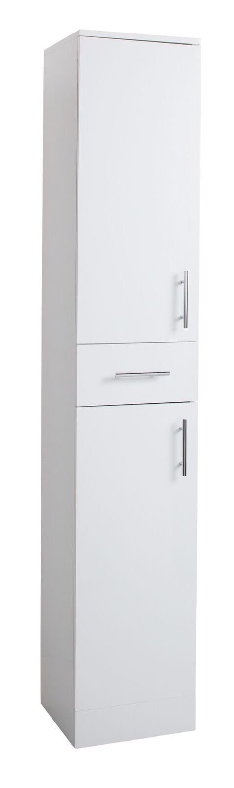Cassellie Kass 2-Doors & 1-Drawer Tall Storage unit - 1900mm High x 300mm Deep - White