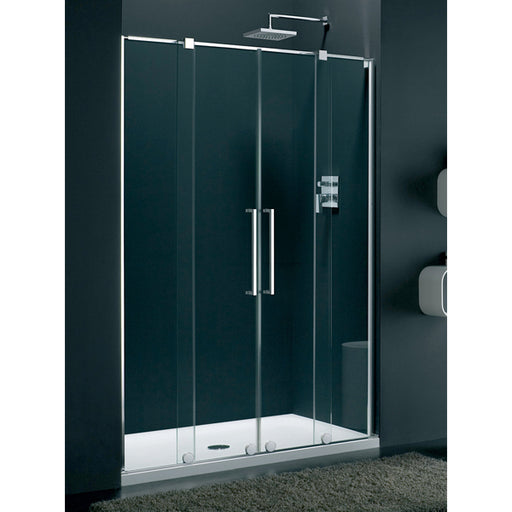 Lakes Italia Genzano Double Sliding Shower Door with Inline Panel - 1400mm - Silver- Clear Glass