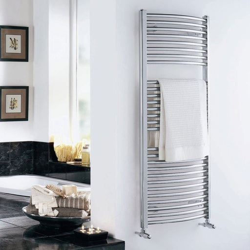 Essential STANDARD Towel Warmer, Curved Tubes, 1430mm High x 600mm Wide, Chrome
