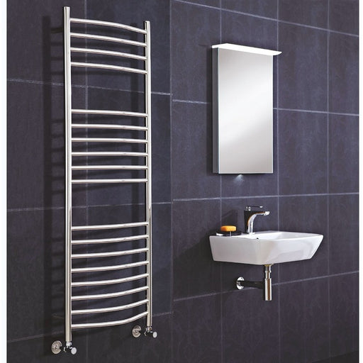 CLEARANCE Phoenix Athena Electric Stainless Steel Straight Towel Rail 800mm x 500mm