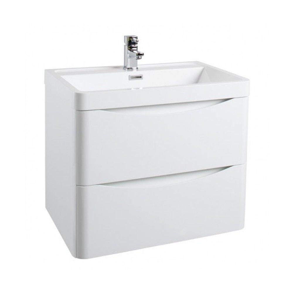 Cassellie Bali 2-Drawers Wall Hung Vanity Unit with Basin - 600mm Wide - Gloss White