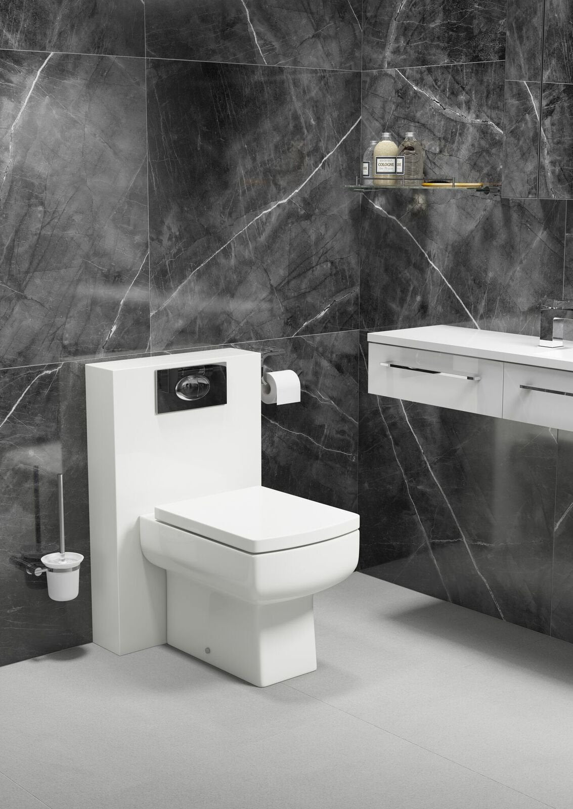 Cassellie Polymarble Shroud WC Unit with Dice Pan & Seat - 500mm Wide - Gloss White
