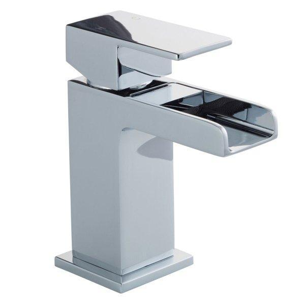 Cassellie Dunk Waterfall Mini Mono Basin Mixer Tap Deck Mounted with Click Clack Waste - Chrome