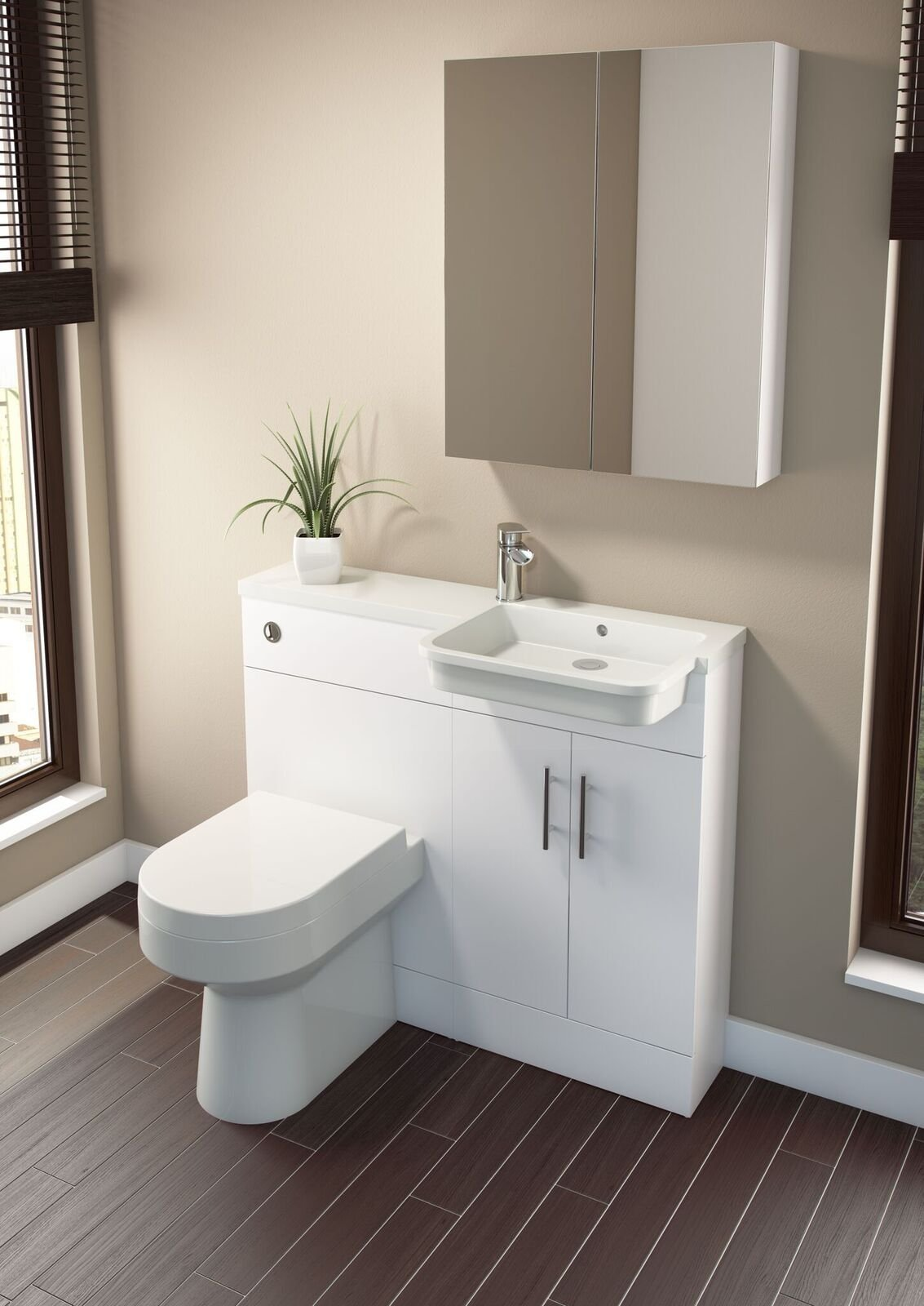Cassellie Ria Combi Combination Unit with Basin - 1000mm Wide - Gloss White - Right Handed