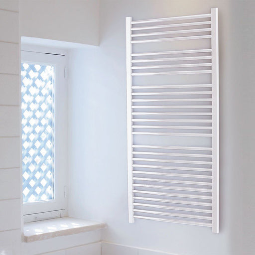 Essential Straight Ladder Towel Rail, 1110mm High x 600mm Wide, White