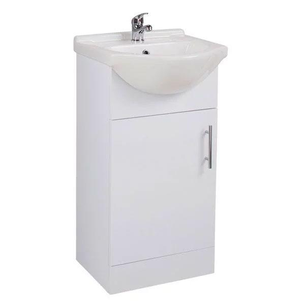 Cassellie Kass 1-Door Vanity Unit with Basin - 450mm Wide - White