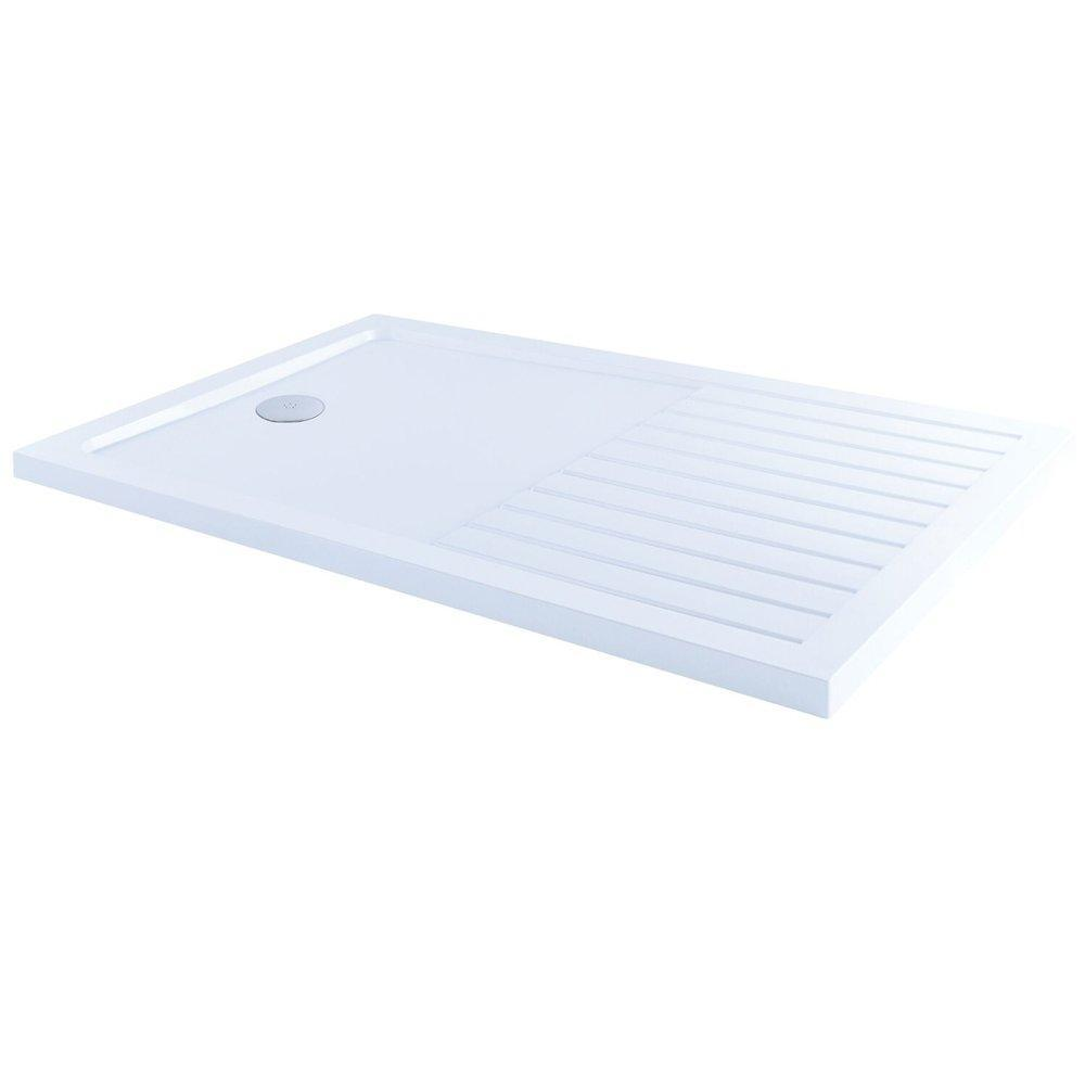 Cassellie Poly Stone Walk in Shower Tray with Fast Flow Waste 1400mm x 900mm -White