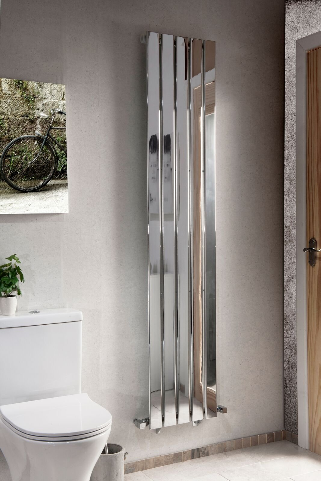 Cassellie Motif Vertical Designer Radiator - 1800mm x 376mm - Chrome
